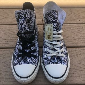 Converse All Star Black White Doodle High Top Shoe